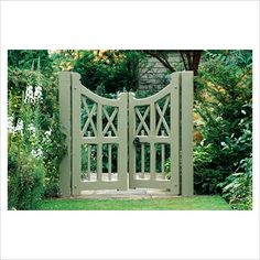 a very handsome Garden Gate in one of my favorite colors of green.This is a very handsome Garden Gate in one of my favorite colors of green. Wooden Garden Gate, Garden Gates And Fencing, Wooden Gates, Garden Entrance, Garden Doors, Entrance Gates, Tor Design, Fence Design, Driveway Gate