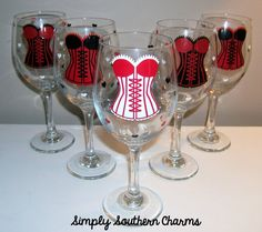5 Personalized Bachelorette Wine Glasses by SimplySouthernCharms, $60.00