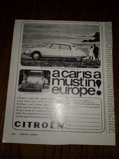 1965 Vintage Citroen ID DS-19 & 2CV Original Black & White Print Ad On Beach