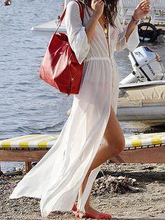 CHOiES Kimonos - White Sheer Slit Side Tied Waist Maxi Kimono