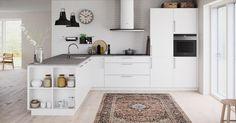 Med ett Veda-kök kan du integrera vardagsrummet och köket med hjälp av hyllor som bildar en glidande övergång mellan rummen.
