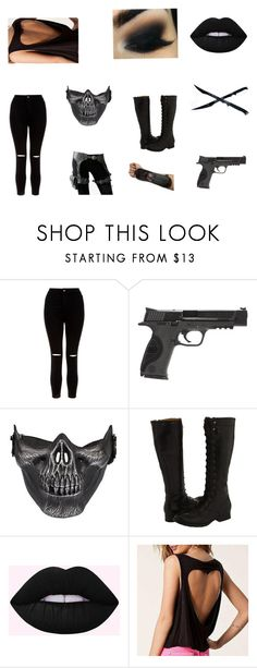 """""""💀"""" by nerdyfashionista1010 ❤ liked on Polyvore featuring New Look, Smith & Wesson, Frye and Richcoco"""