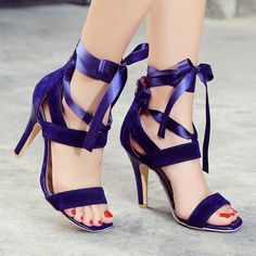 Size 34-45 Womens Ribbon Strappy High Heel Cut Out Zip Roman Sandal Ladies Shoes