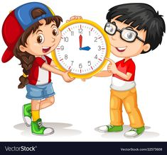 Boy and girl holding clock Royalty Free Vector Image Clock Clipart, Owl Clip Art, Action Cards, Kids Background, Kids Math Worksheets, School Clipart, Cartoon Wall, Religious Books, Alphabet For Kids