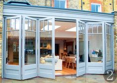 Browse our gallery of bifold doors, french doors and patio doors. Kitchen Patio Doors, Kitchen Bifold Doors, Bifold Doors Onto Patio, Folding Patio Doors, Kitchen Extension French Doors, Bifold Glass Doors, Bifold Exterior Doors, Exterior French Doors, Bi Folding Doors Kitchen