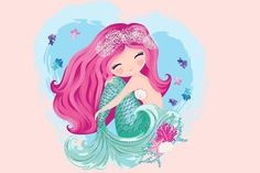 Little cute mermaid with fishes and seashells. Book illustration fashion artwor - Book T Shirts - Ideas of Book T Shirts - Little cute mermaid with fishes and seashells. Book illustration fashion artworks t shirt graphics. Mermaid Artwork, Mermaid Drawings, Mermaid Illustration, Cute Illustration, Illustration Fashion, Cute Mermaid, Ariel The Little Mermaid, Mermaid Wallpapers, Cute Wallpapers