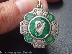 ANTIQUE VINTAGE STERLING SILVER IRISH HARP 1939 ENAMEL WATCH FOB CHARM PENDANT   eBay