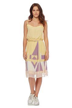 Venda French Connection / 28117 / Mulher / Vestidos e macacões sem mangas / Vestido plissado sol Amarelo