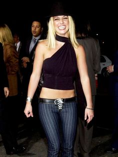 Noughties fashion trends: Britney Spears's lace up trousers... are becoming popular again.