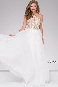 Ivory Chiffon Halter Embellished Prom Dress 36983