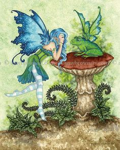 Hand Accented Fairy and frog PRINT MEDIUM 8x10 by AmyBrownArt