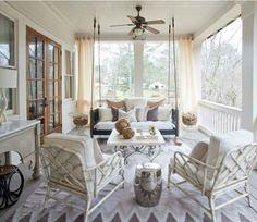 Custom porch swing Outdoor Rooms, Outdoor Living, Outdoor Curtains, Indoor Outdoor, Outdoor Patios, Deck Patio, Outdoor Kitchens, Outdoor Chairs, Backyard