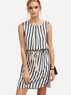 Buy it now. Black Striped Drawstring Waist Dress. Black Casual Cotton Blends Round Neck Sleeveless Shift Short Striped Fabric has no stretch Summer Dresses. , vestidoinformal, casual, camiseta, playeros, informales, túnica, estilocamiseta, camisola, vestidodealgodón, vestidosdealgodón, verano, informal, playa, playero, capa, capas, vestidobabydoll, camisole, túnica, shift, pleat, pleated, drape, t-shape, daisy, foldedshoulder, summer, loosefit, tunictop, swing, day, offtheshoulder, smock,...