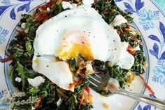 kale wheat berry salad with egg and goat cheese