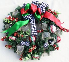 Black and White Christmas ribbon wreath, Evergreen wreath, Holiday wreath, Christmas ball wreath, Ho Christmas Ribbon, Christmas Balls, White Christmas, Christmas Stockings, Holiday Wreaths, Holiday Decor, Berry Wreath, Red Berries, Ribbon Bows