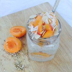 Would be yummy with paraguayos as well YUMM ~~ Raw Buckwheat, Apricot, Almond & Coconut Porridge Parfait Serves 2-4 and is vegan, dairy and refined-sugar free! 1 cup buckwheat 1/2 cup @naturalrawc water 1/2 cup @almondbreezeaus almond milk 2 Tbsp @norbusweetener 1/8 cup shredded coconut 1/2 tsp cinnamon 1/2 tsp ginger 1 Tbsp @loving_earth lacuma powder 2 Tbsp chia seeds 2 Tbsp slivered almonds 2 fresh apricots, stone removed and sliced Soak 1 cup buckwheat,in 2 cups filtered water for at…