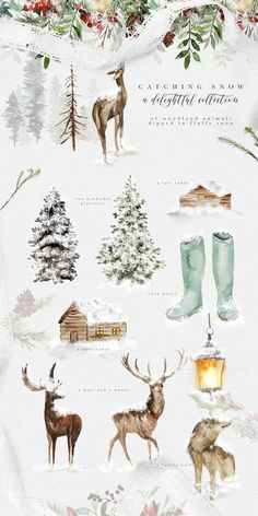 Evergreen - Wintertide Collection by OpiaDesigns on Creative Market Evergreen is. - Evergreen – Wintertide Collection by OpiaDesigns on Creative Market Evergreen is a classical/rust - Halloween Illustration, Tree Illustration, Christmas Illustration, Digital Illustration, Watercolor Clipart, Watercolor On Wood, Watercolor Landscape, Watercolor Paintings, Landscape Paintings