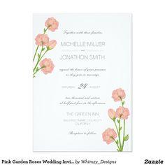 Pink Garden Roses Wedding Invitation