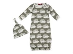 0e4de72e291 Milk Barn Grey Hedgehog Newborn Gown   Hat Set   Baby Shower Gifts   Gifts