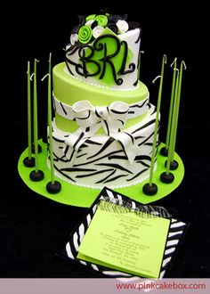 "Black and white zebra print highlights this topsy turvy cake we created for a B'not Mitzvah in East Brunswick, NJ. We topped the cake with a ""B R L"" Fancy Cakes, Cute Cakes, Beautiful Cakes, Amazing Cakes, Fondant Cakes, Cupcake Cakes, Pastries Images, Neon Cakes, Pink Cake Box"