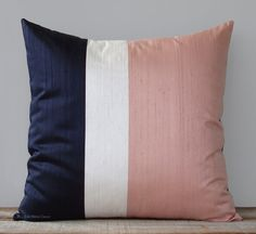 Glam sophistication. Perfectly proportioned color block stripes in navy, cream and blush pink give this silk pillow an elegant edge. #JillianReneDecor