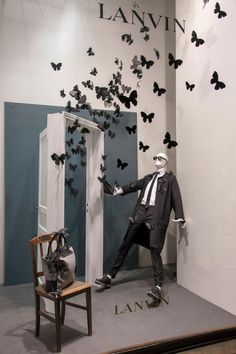 Windows at Lanvin Paris. A tribute to the Winter 2013 fashion show, where dresses are adorned with butterfly prints.