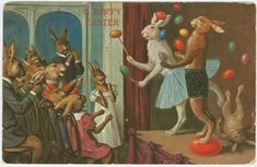 Easter Postcard Juggling Bunnies 1909 more vintage cards on page Easter Bunny History, Easter Art, Easter Eggs, Vintage Cards, Vintage Postcards, Vintage Images, Vintage Easter, Vintage Holiday, Spring Images