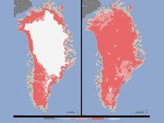 Gelo na Groelândia derrete 97% em julho e espanta até a NASA. Derretimento de gelo na superfície da Groenlândia no mês de julho é o maior já registrado nos últimos 30 anos. Surpresa, a agência espacial chegou a suspeitar de falha na medição. (Clique na foto)