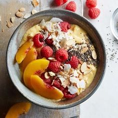 Eating Well (July/August 2016): Raspberry-Peach-Mango Smoothie Bowl