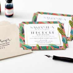 Botanicals on blush wedding invitations. Stylish hand drawn elements by @Justina Blakeney for your tropical affair.