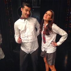 Billy Lewis Jr. and Laura Dreyfuss on the Glee set