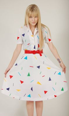 Vintage 80s GRAPHIC Day Dress RAINBOW Triangle by LotusvintageNY, $38.00