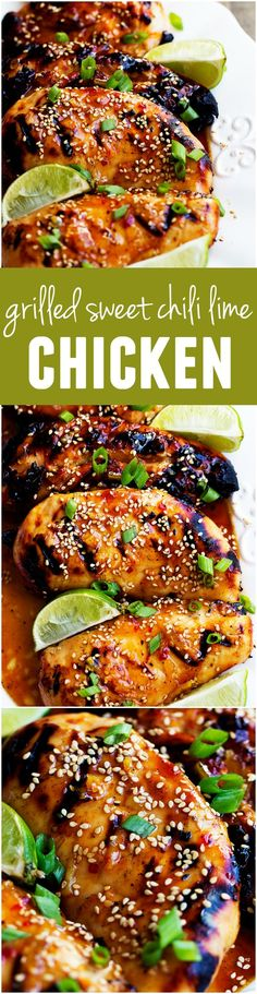 This Sweet Chili Lime Chicken is grilled to tender and juicy perfection and the flavor is out of this world! (Has sweet chili sauce) Turkey Recipes, Chicken Recipes, Dinner Recipes, Recipe Chicken, Charcoal Chicken Recipe, Soup Recipes, Grilled Chicken Breast Recipes, Recipies, Chicken Marinades