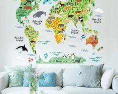 Decoratiune interioara pentru sufragerie sau dormitor, sticker pentru perete cu harta animalelor