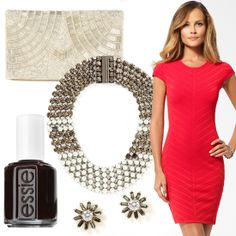 Little red dress, beaded clutch, pearl and crystal necklace, and sunburst stud earrings by Caché, nail polish by Essie (in 'Wicked') #HeadToToeThursday