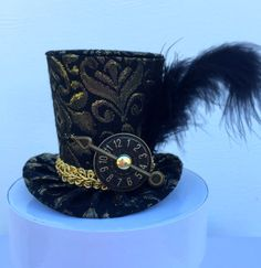 Black and Gold Brocade Mad Hatter Mini Top Hat by daisyleedesign