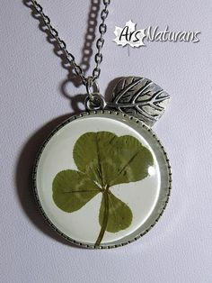 1723759c968 REAL Four Leaf Clover Necklace Silver Tree Lucky Cabochon