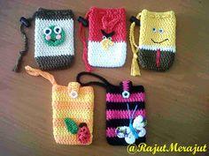 Crochet Cellphone Pouch.  Keropi, Angry Bird, Spongebob, Ladybug & Butterfly :)