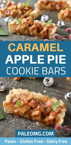 What do you do when you want a caramel apple, apple pie, and cookie bars all at the same time? You make paleo caramel apple pie cookie bars, that's what! These apple pie cookie bars will make your mouth water at your next Thanksgiving party. Make sure you save this fall dessert recipe to your paleo dessert board! #paleo #dessert #applepie Paleo Cookie Recipe, Paleo Cookies, Paleo Treats, Paleo Recipes Easy, Real Food Recipes, Chicken Recipes, Free Recipes, Caramel Apple Pie Cookies, Caramel Apples