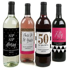 Chic Pink, Black & Gold - 50th Birthday - Custom Wine Bottle Label Birthday Gift | BigDotOfHappiness.com