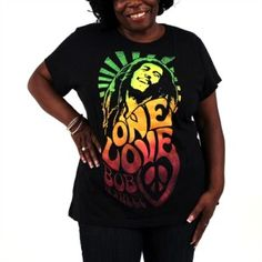 This black Bob Marley Plus Size Tee features a psychedelic design with a peace sign, a smiling image of Bob surrounded by a background of green rays. Below his image are the words, One Love and Bob Marley. Bob Marley Shirts, Big And Beautiful, Beautiful Things, Popular Bands, Love Plus, Plus Size Tees, Black Bob, Tee Shirt Designs, First Love
