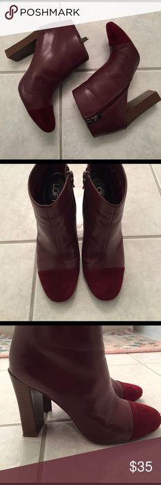 Cabernet heeled booties These gorgeous booties are a Cabernet/burgundy color. They are leather with a suede cap toe. Perfect for work! LOFT Shoes Ankle Boots & Booties