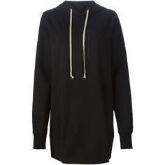 Rick Owens long length hoodie ($750) ❤ liked on Polyvore featuring tops, hoodies, black, black hooded sweatshirt, cotton hoodies, rick owens hoodie, cotton hooded sweatshirt and long hooded sweatshirt