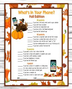 Fall Autumn Party Family Reunion Phone Game, Printable Adults Kids Activity, Instant Download
