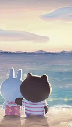 Onix and Keri Rabbit Wallpaper, Lines Wallpaper, Brown Wallpaper, Kawaii Wallpaper, Wallpaper Backgrounds, Iphone Wallpaper, Cute Love Pictures, Cute Love Gif, Kawaii Drawings