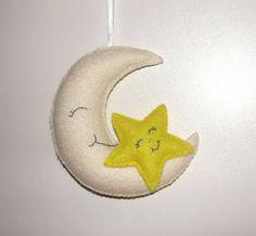 Wool Felt Moon Star Ornament Felt Ornament Wall Hanging