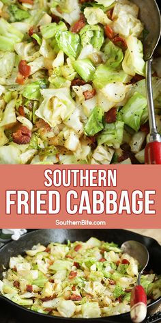 This quick and easy recipe for Southern Fried Cabbage is a family favorite and is the perfect side dish for nearly any menu! And there's bacon! Recipe For Southern Fried Cabbage, Southern Recipes, Southern Food, Side Dishes Easy, Vegetable Side Dishes, Side Dish Recipes, Vegetable Recipes, Crockpot, Sandwiches