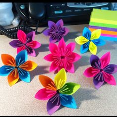 Origami flowers from sticky notes sensible living office supplies post it art bored at work much mightylinksfo