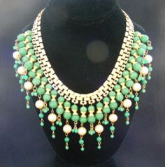 Vintage Miriam Haskell Green Hand Made Glass Bead Dangling Bib Necklace | eBay
