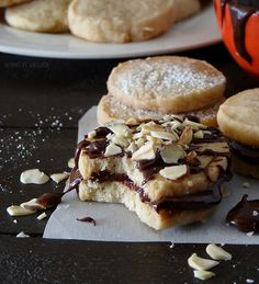 Vegan shortbread - using coconut oil. And suggestion to drizzle chocolate all over the shortbread...Yum!